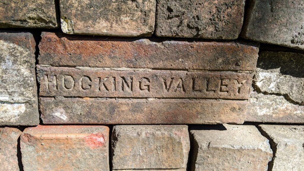 Close-up of the brick pavers used in the Well House patio and walkway that were recycled from Grand Rapids streets